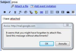 Rilevatore allegati dimenticati in gmail